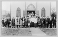 Group in front of St. Joseph's Roman Catholic Church, Armstrong, B.C.