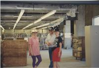 Danuta Zwierciadlowski, [Lisa?], and [?] pose in the South Building Library during construction, 1994.