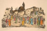 Market scene with mosque in background