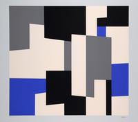Abstract composition in blue, black and grey