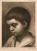 Boy with lowered head