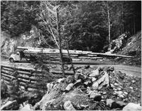 Baird Bros. logging truck on Cook Creek Road at Angel Creek Falls