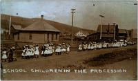School children in May 24th Parade on way to Recreation Grounds