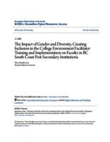 The Impact of Gender and Diversity, Creating Inclusion in the College Environment Facilitator Training and Implementation on Faculty in BC South Coast Post Secondary Institutions