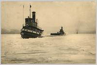 Tugs Naramata and York and S.S. Sicamous in the ice off Crescent Beach