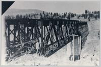 Trout Creek railway trestle bridge under construction