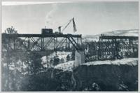 Construction of Trout Creek railroad trestle