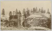 Construction of railway trestle at Trout Creek